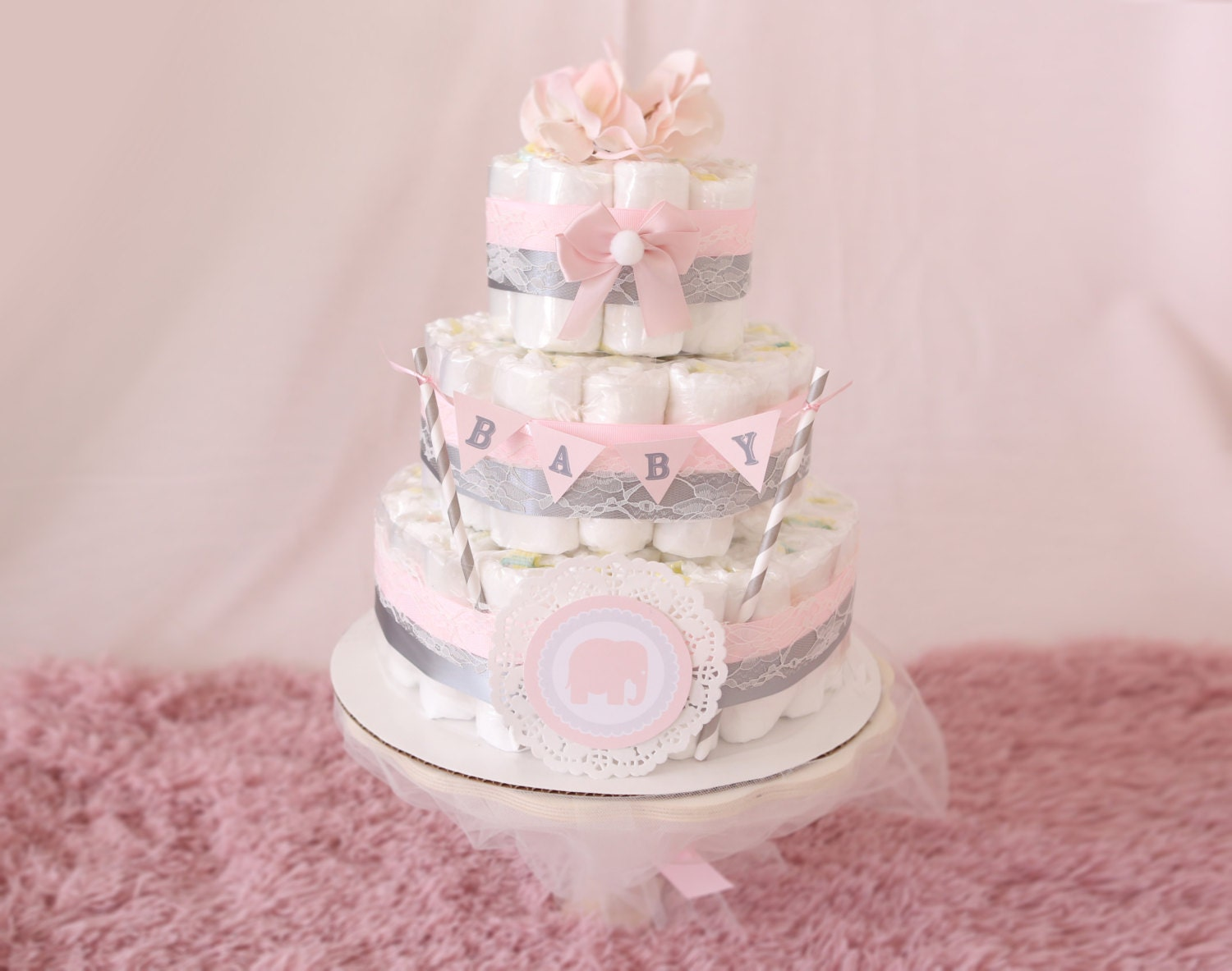 Baby Girl Pink Gray Diaper Cake Shower Centerpiece