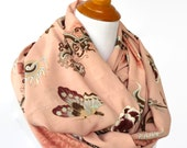 Infinity Scarf, Pink Butterfly Infinity Scarves, Circle Scarf, Floral Pink Infinity Scarf, Pink Cotton Scarf, Fashion Scarf, Gifts for Her