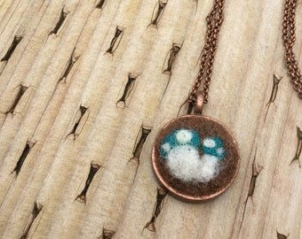 felted toadstools necklace