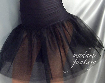 High waisted Black tutu skirt wide shiny spandex top Goth