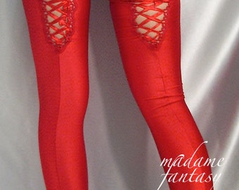 Red shiny spandex stockings Lace Up Back