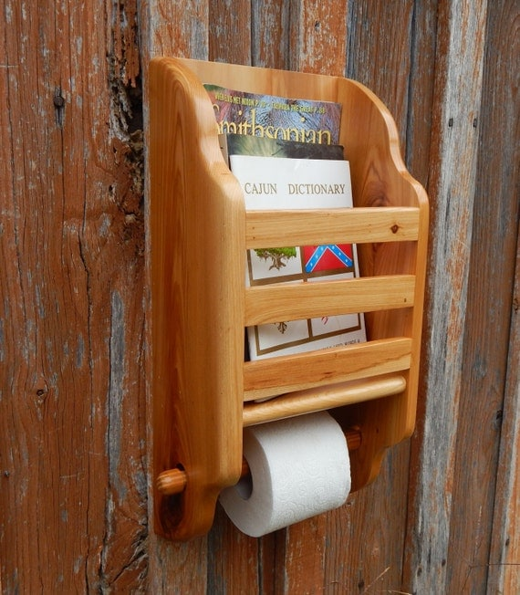 Cypress Wall Magazine Rack Toilet Paper Holder