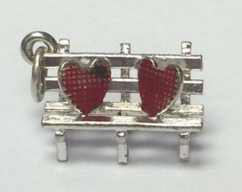 Vintage Sterling Silver Bracelet Charm- Bench with 2 Enameled Hearts - 1.8g 5476