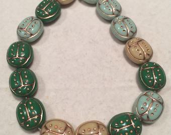 Lady Bug Beads - 13mm -  Mix Green Blue Tan - Czech Glass - 15 Beads - 0462/LAD
