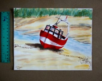 A trawler stranded on the beach- watercolour-marine landscape