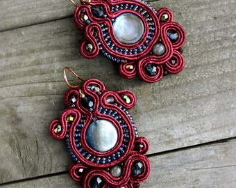 Birthday gift|for|her Coin pearl earrings Statement earring Christmas gift idea Burgundy soutache mother of pearl jewelry Maroon red earring