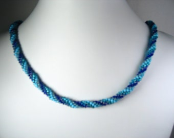 Hand Crocheted Beautiful Blues Striped Glass Seed Bead Necklace