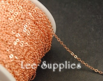 2mm Rose Gold Plated Chain Flat Cable Bulk Jewelry Necklace Chain - Soldered C67
