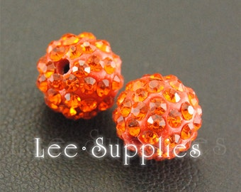 10pcs Polymer Clay Orange Rhinestone Crystal Pave Disco Ball Beads