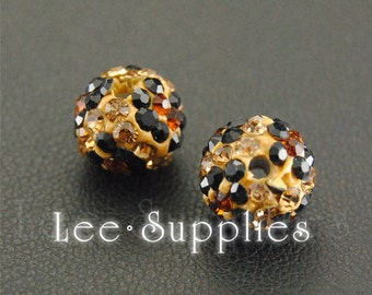 10mm Leopard Pattern Polymer Clay Rhinestone Crystal Pave Disco Ball Beads B10-20