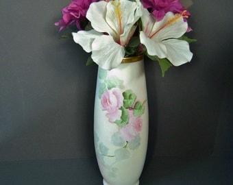 Antique Hand Painted Roses Leonard Vienna Austrian Vase