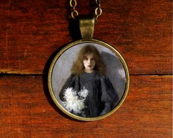 Vintage necklace, fine art necklace, art jewelry, vintage pendant, fine art pendant necklace, wearable art, portrait pendant, resin pendant
