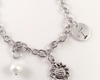 Flower Girl bracelet, charm bracelet,  junior bridesmaids gift, initial charm bracelet,  flower bouquet charm bracelet, little girl jewelry