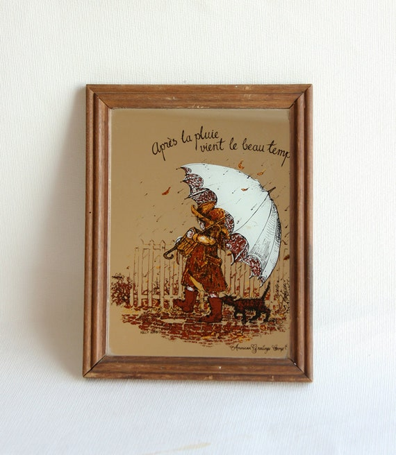 Vintage Framed Mirror Wooden 1970's American Greetings frame Girl with umbrella french proverb quote Autumn fall home decor Rustic wall art