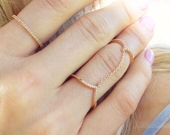 CZ Rose Gold Double Finger Chain Ring cz Slave ring Double chain chevron ring chain linked adjustable midi ring