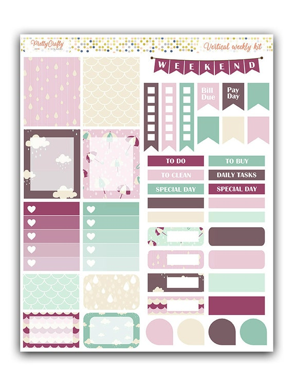 Purple rain weekly stickers kit   Themed weekly kit   Erin Condren vertical theme weekly kit   Weekly planner stickers
