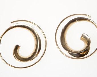 Spiral earrings, Brass earnings, Boho Earrings, Tribal Earrings, Indian Jewellery, Gold Earrings, Gypsy Earrings, Boho Jewellery