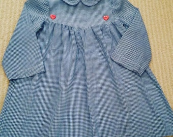 Vintage Blue White Gingham Dress Pink Heart Buttons 80's 3 4 5