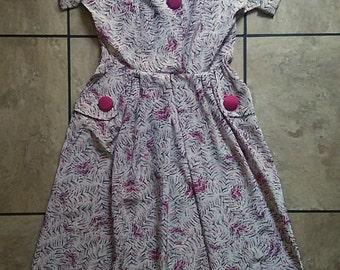 Vintage 50s Pink and Black Rockabilly Dress / 50s Pin Up Dress / 50s Tea Dress