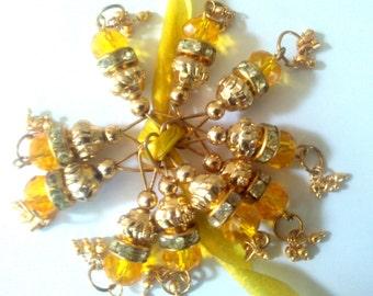 Beaded Tassels Yellow Golden latkans Indian Jewelry earring pendant Bridal dress decoration Wedding supply Bollywood saree hanging 5 Tassels