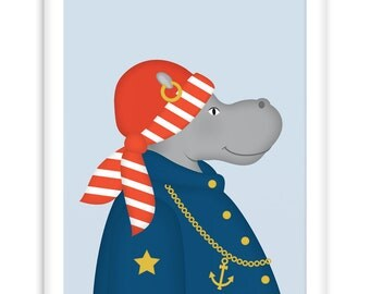 Nautical Poster Sailor Hippo | Wall Art Children + Nursery |