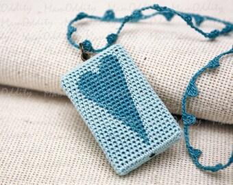 Turquoise jewelry Ice heart Pendant Crochet necklace Turquoise blue Fashion jewelry Heart necklace Long necklaces Romantic jewelry Autumn