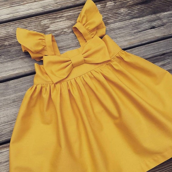 Mustard Flutter sleeves Big bow Dress Girls bow dress Baby