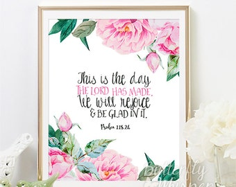 Christian wall art scripture print, Nursery Bible verse wall art, This is the day the LORD has made,  Bible canvas quote art, 5x7 , 8x10