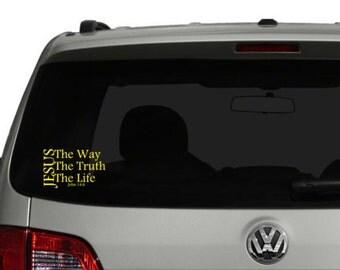 Jesus The Way The Truth The Life John 14:6 Vinyl Decal 11''x7''