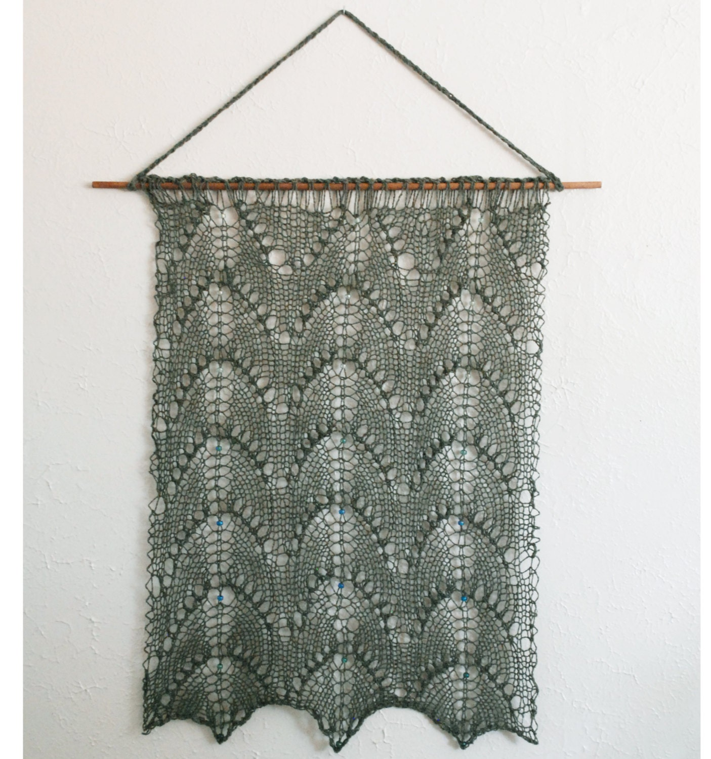 Knitted And Beaded Lace Wall Hanging Luxury Aran Weight
