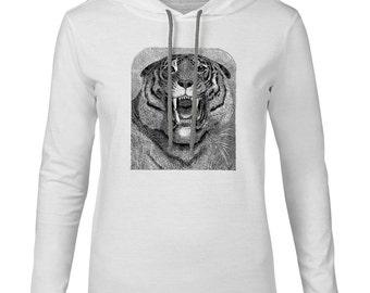Mintage Roaring Tiger  Mens Fine Jersey Hooded T-Shirt