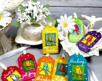 Handcrafted Birdsong Wooden Gift/Greeting Tags (Set of 8)