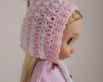 Pink and white crocheted pixie hat for Disney Animator dolls