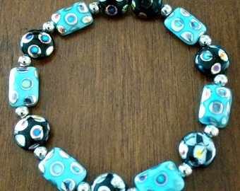 Turquoise and Black Oil Effect Bracelet