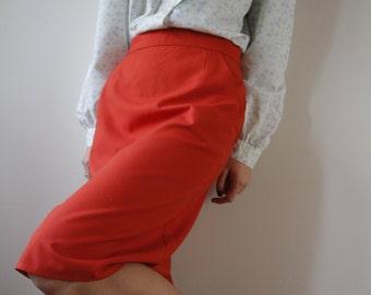 Vintage Pencil Red Skirt Red Midi Skirt