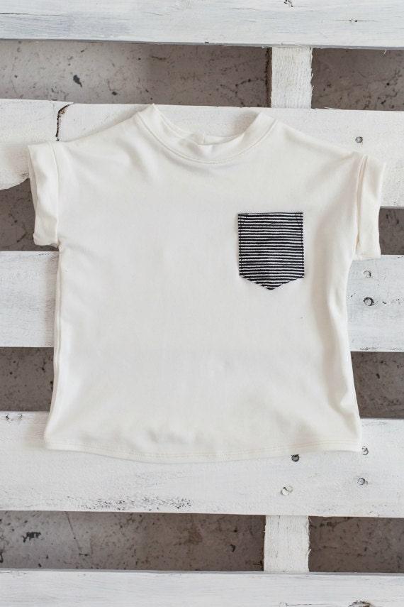 JUJUBE - minimalist plain tee-shirt with striped pocket - white