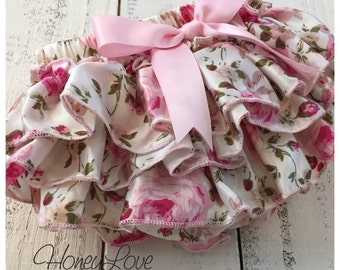 Bloomers - Pink Floral Satin Ruffles - diaper cover, ruffles on butt, ruffle bottom - newborn, infant, todder, baby girl - vintage inspired