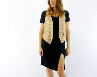 70s Plaid Wool Vest Size Medium/Large