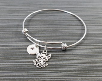 Dainty Angel Bangle - Guardian Angel Bracelet - Expandable Bangle - Angel Charm Bangle - Initial Bracelet - Mom Gift - Mother Bracelet