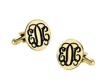 Custom Engraved Wedding Monogram 18k Yellow Gold Plated 925 Sterling Silver Cufflinks, Personalized Cufflinks, Groom Cufflinks,