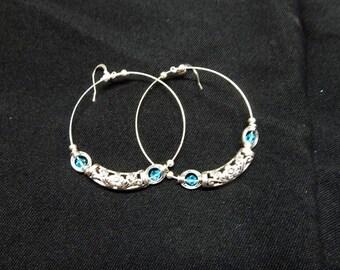 Hoop Earrings Tibetan silver earrings with blue crystals.
