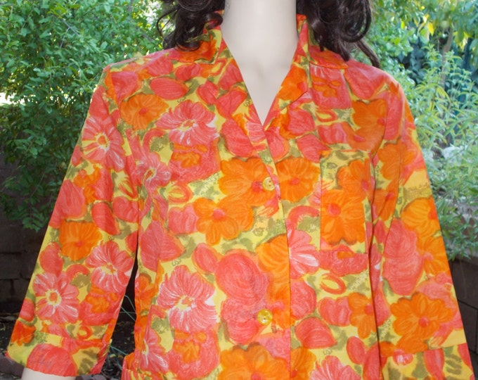 Vintage 60s Dressing Gown Rockabilly Orange Nylon Floral Psychedelic Womens Housecoat Above The Knee Button Shift Dress