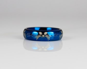 6mm Tungsten Band with Domed Edge Cat Face Design All Around The Ring - 6mm Tungsten Ring