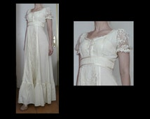 Vintage 70s ivory white empire waist maxi dress - cotton & lace regency / peasant / Victorian / boho  short sleeve gown - size S / M