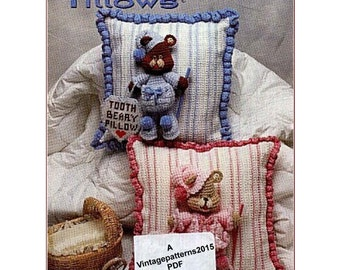 Tooth Beary Pillows Crochet Pattern   -     PDF Download