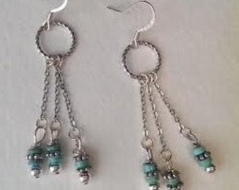 Dangle, Beaded, Silver Earrings