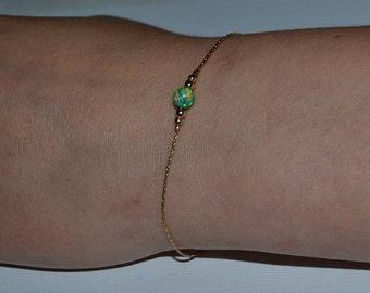 OPAL BRACELET // Opal Ball Bracelet - Opal Jewelry - Kiwi Opal Bracelet Gold - Dot Bracelet - Drop Bracelet - Opal Charm Bracelet