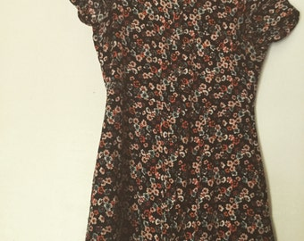 1990s bohemian button down dress flower print size small extra small