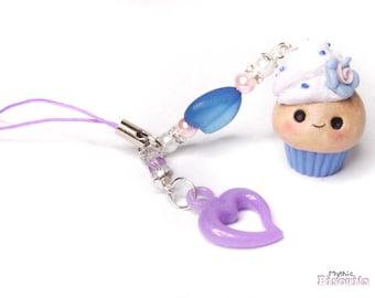 Lavender Blueberry Kawaii Cupcake Phone Charm