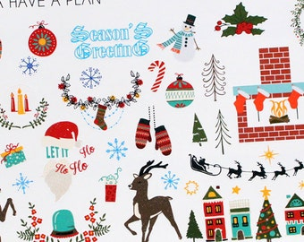 Planner Stickers Christmas Variety Deco for Erin Condren, Happy Planner, Filofax, Scrapbooking